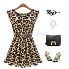 Women Fashion Sexy Ladies Leopard Evening Cocktail Party Mini Dress Summer Dress