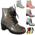WOMENS LADIES ANKLE LACE UP HEEL CLEAR JELLY WELLIES WELLINGTON BOOT SHOE SIZE