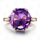Amethyst Diamond Ring in 14K Rose Gold Engagement Ring,Purple,Round Cut 12mm