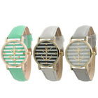 """Fashion Women""""s Ladies Geneva Striped Anchor Style Leather Watch New Special"""