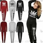 Womens Ladies Casual Addicted Weed Cannabis Leaf Round Neck Joggers Tracksuit