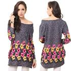 Women Casual Dress Floral Polka Dot Print Long Sleeve Crew Neck Plus Size Loose