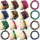Handmade Colorful Tiger's Eye Gemstone Round Beads Stretchy Bracelet