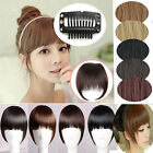 Natural Clip In On Side Inclined Neat Bang Fringe Hair Extension Real Syethenic