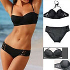 Women Bandage Triangle Pierced Bikini Push-up Swimsuit Bathing Suit Swimwear