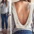 New Womens Backless Long Sleeve Shirt Casual Blouse Tops Shirt Clothing  Lace