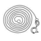 """Solid Silver Italy Long Box Chain 1mm Shiny Necklace 16"""" 18"""" 24"""" 26"""" For Pendant"""