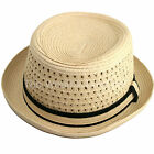 Mens Ladies Crushable Straw Pork Pie Hat Unisex Packable Summer Beach Trilby Hat
