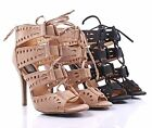"Ladies Lace Up Back Zipper Open Toe Sexy Womens Dress 4 1/4"" Heels Sandals Shoes"