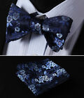 BF3001B Navy Blue Floral Men Woven Silk Self Bow Tie Pocket Square Set