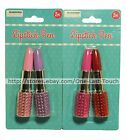 *BLINGED LIPSTICK 2 Pack Shaped Pens w/RHINESTONES Black Ink CARDED *YOU CHOOSE*