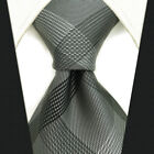 S1 Mens Necktie Checked Solid Grey Silk Hademade Extra Long Size Jacquard Woven