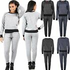 Womens Ladies diamante shoulder zip long sleeve crew neck Loungewear Tracksuit