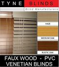 38mm slat - FAUX WOOD with cords - PVC Venetian Blinds - wood effect blinds