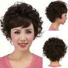 Mid age Old Women full Wigs curly wavy short hair mother's Gift fashion wig