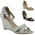 NEW WOMENS LADIES ANKLE STRAP SUMMER MID HEEL FASHION SHOES SANDALS WEDGES SIZE