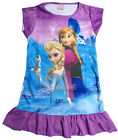 Disney Elsa Anna Olaf Children Kids Girls Pyjama Nightgown Dress Purple 3-10 Yrs