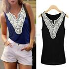 Sexy Women Embroidery Sleeveless V-Neck Blouses Lace Tank Tops Vests Shirt F48