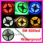 5M 600 LED 3528 SMD Strip Waterproof White Warm Amber Red Green Blue UV Pink