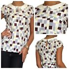 New Blouse Womens Shirt Chiffon Casual Short Sleeve Top Size 8 10 12 14 16 18 20