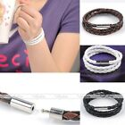 Men Womens Gift Braided Magnetic Clasp 3 Laps PU Leather Bracelet Handmade 18''L