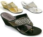 Womens Mid Heels Wedge Bridal Party Wedding Diamante Toe Post Sandals Size
