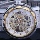Mens Lady Steampunk Skeleton Mechanical Golden Wrist Watch Analog Stainless Band