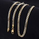 4.5mm Womens Mens Chain Cut Curb White Yellow Gold Filled GF Necklace 18-36''