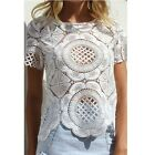 Women Sexy Floral Lace Crochet Hollow Tops Short Sleeve Shirts Casual Blouse B