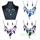Fashion Women Leaf Charm Fringe Collar Bib Statement  Necklace Stud Earrings Set