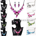 Fashion Butterfly Charm Pendant Bib Choker Y Neck Lariat Necklace Earrings Set
