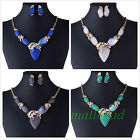 New Charm Moonstone Rhinestone Bead Chain Y Pendant Necklace Earrings Set Gift