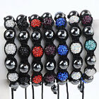 1PC Crystal Pave Black Hematite Ball Bead Ball Disco Hip Hop Macrame Bracelet