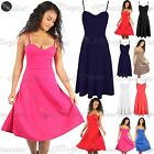 Womens Ladies Strappy Sleeveless Cami Flared Swing Midi Skater Dress Top