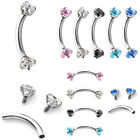16G CZ Gem 316L Surgical Steel Internally Threaded Eyebrow Ring Piercing Jewelry
