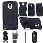 Hybrid Armor Holster Heavy duty Belt Clip Case For Samsung Galaxy Note 4 GIFT