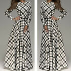 Sexy Womens Summer Boho Long Maxi Evening Party Dress Beach Dress Plaids Dresses