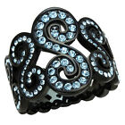Black Stainless Steel Round Blue Crystal Women's Wide Band Filigree Ring sz 5-10