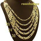 """Italian Figaro Yellow 14k Gold Plated 3 to12mm wide 20"""" 24"""" 30"""" Chain Necklace image"""