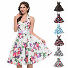 Women Vintage 50s 60s Retro Rockabilly Pinup Housewife Swing Party Evening Dress