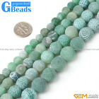"Round Frosted Green Agate Gemstone Beads Strand 15""Free Shipping"