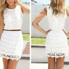 Women Lace Polyester Sleeveless Summer Round Neck Mini Party Beach Dress Clothes
