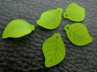 11x16mm 25 / 50 / 100grams GREEN FROSTED ACRYLIC LEAF CHARM CM551-20