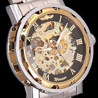 New Hand Winding Mens Gold Dial Skeleton Mechanical Sports Steel Wrist Watch ID3