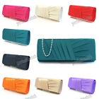 IVORY BLUE RED BLACK PURPLE TEAL ORANGE RED Pleated Satin Clutch Evening Bag 883