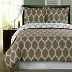 Brooksfield Taupe and White Egyptian Cotton Duvet Cover Set