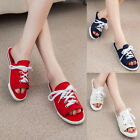 Fashion Leisure Lace Up Canvas Slides Summer Sandals Slippers Stitched Shoes
