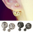 Charms Fashion Women Double Sides Pearl Earring Two Ball Stud Earrings piercing