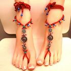 No. 3 - Red Bohemian Gypsy Hippie Barefoot Sandals (BS-R1)