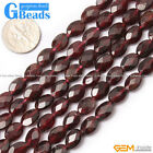 Natural Garnet Gemstone Faceted Oval Beads For Jewelry Making Free Shipping 15""
